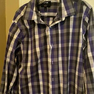Plaid purple apt 9 stretch slim dress shirt